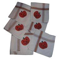 6 Vintage Cotton HALLOWEEN Pumpkin  JOL Holiday Napkins