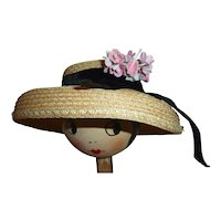 Adorable Straw Doll's Hat with Flowers & Velvet Ribbon