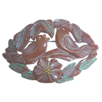 Gorgeous Bakelite Birds & Flowers Large Carved Chunky & Gorgeous!