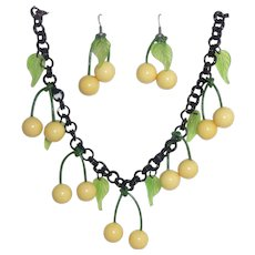 Gorgeous Set Bakelite Yellow Cherries Green Leaves Black Celluloid Chain Necklace & Matching Earrings