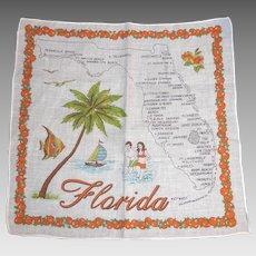 Vintage Souvenir Florida State Hanky Handkerchief Hankie