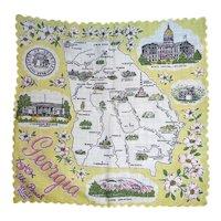 Vintage Souvenir Georgia State Hanky Handkerchief Hankie Peach State