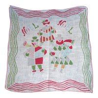 Vintage CHRISTMAS HANDKERCHIEF Hanky Carolers Singing Noel noted by Carl Tait unsigned