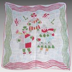 Vintage CHRISTMAS HANDKERCHIEF Hanky Carolers Singing Noel