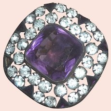 Gorgeous Vintage Huge 2 color Rhinestone Glass Square HatPin Purple & Clear