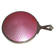 Beautiful Vintage Guilloche Enamel Hand Mirror for Pocket or Purse
