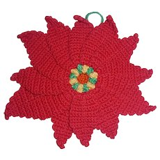 Vintage Crochet Christmas Red Poinsettia Hot Pad, Pot Holder, Trivet
