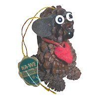 Vintage Christmas Puppy Dog Pine Cone Ornament Mint W Tag Adorable & Unusual