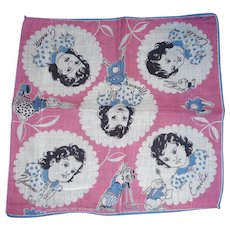 Vintage Signed Tom Lamb Child's Handkerchief Hanky Dionne Quints Quintuplets