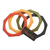 4 Colors Bakelite Geometric Octagon Spacer Bangle Bracelets Original Tag
