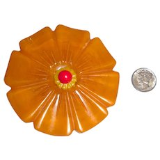 XL 3 Color Bakelite Carved Flower Pin Brooch Butterscotch Swirl, Yellow & Red