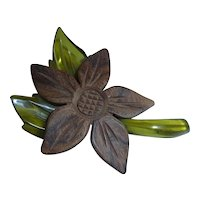 Vintage Carved Lucite & Wood Flower Pin Brooch Bakelite Era