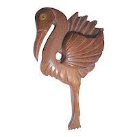 Vintage XL Carved Wood Flamingo Pin Brooch