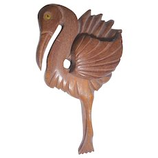 Vintage XL Carved Wood Flamingo Pin Brooch