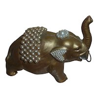 Vintage 40s nMINT Celluloid Jeweled Circus Elephant Figural Sewing Tape Measure