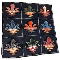 Vintage Velvet Throw Quilt 9 Panels Abstract Flowers in Pot Feather Embroidery Size 48x48 Crazy!