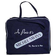 Michel Swiss Vintage Airline Type Carry On Bag Rue de la Paix, Paris