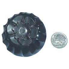 Vintage Large Black Bakelite & Silver Flower Escutcheon Button