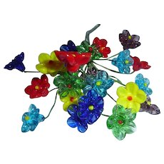 Beautiful Vintage Czech Glass Colorful Flowers Bouquet, Pin, Ornament or Perfume Bottle Replacement Addition