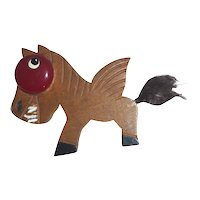 Large Smiling Wood Winged Horse Pegasus with a Big Red Bakelite Eye