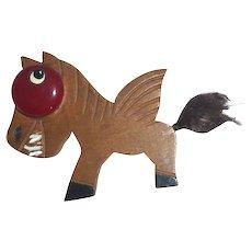 Large Smiling Wood Winged Horse Pegasus with a Big Red Bakelite Eye