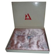 Vintage Satin Lingerie Hosiery Hanky Accessory Bag Pouch Embroidered 1950's MIB