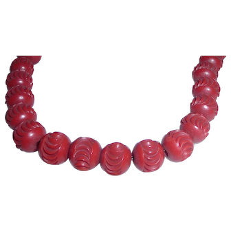 Vintage Plastic Celluloid Carved Red Bead Necklace Bakelite Era