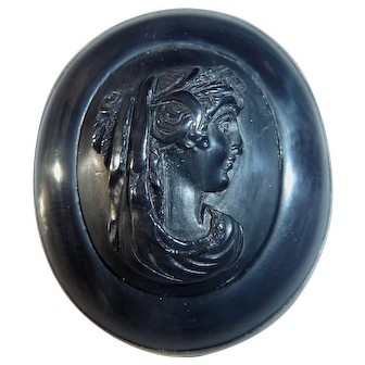 Unusual Silver and Carved Black Bakelite Mourning Cameo Pin / Brooch