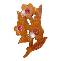 Lovely Bakelite Triple Carved Flower Bouquet Pin / Brooch