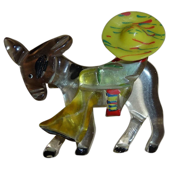 Lucite & Celluloid Mexican Man on Donkey Pin / Brooch