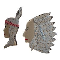 Fabulous Pair of Large Lucite Indian & Squaw Pins Brooches