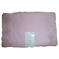6 Vintage Pink Linen Embroidered Cut-Out Fleur-de-lis Cocktail Napkins Mint Tag Leacock