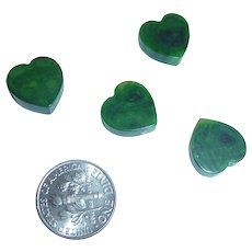 4 Small Mottled Green EOD Bakelite Heart Charm Pieces Parts necklace bracelet pendant Sweetheart