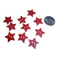 10 Vintage Bakelite realistic Figural Red Star Buttons NOS