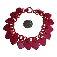 Red Celluloid Chain & Red Celluloid Heart Charms Bracelet Bakelite Style