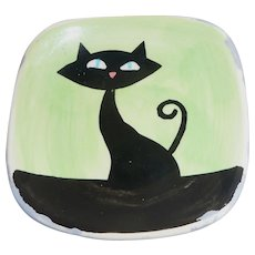 Adorable Miniature Halloween Black Cat Trinket Dish or Ashtray