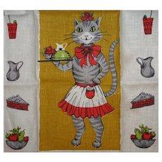 Vintage Linen Kitchen Towel Mint Lady Cat Serves You!