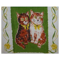 Vintage Linen Kitchen Towel Mint 2 Sitting Cats