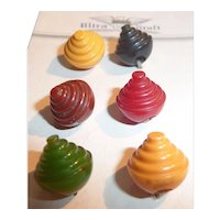 6 Different Small Bakelite Catalin Ball Buttons Carved Cones Concentric Circles MOC