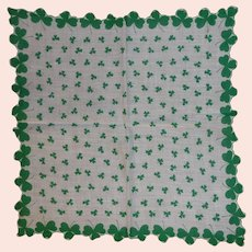 Vintage Hanky St. Patricks Day Green Shamrocks Clover
