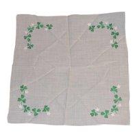 Vintage Hanky Embroidered St. Patricks Day Green Shamrocks Clover