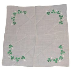Vintage Hanky Embroidered St. Patricks Day Green Shamrocks Clover