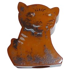Vintage Bakelite Butterscotch Cat Pencil Sharpener