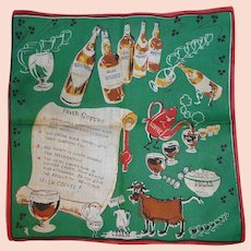 Vintage 1950s Novelty Picture Handkerchief Hanky Making Irish Coffee Recipe St. Patrick's Day