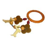 Bakelite Crib Toy Teether Rattle Bracelet Flower Disks Balls Beads Scotty Dogs
