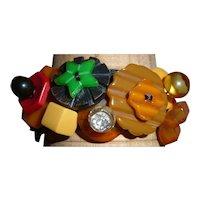 Bakelite Vintage Button Bracelet figural Realistic Geometric Cookies Animal