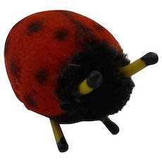 Vintage Tiny Wool Felt Lady Bug Pin Cushion