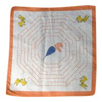 Vintage Child's Handkerchief Hanky Easter Bunny Rabbit / Carrot Maze