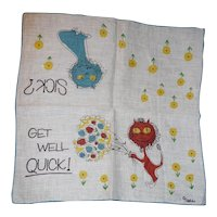 Fabulous!! Vintage Mid-Century Artist Signed 'Welcher' GET WELL Cats / Lions & Flowers Hanky Handkerchief