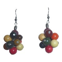 Fantastic Multi-Color Cluster Ball Bakelite Earrings